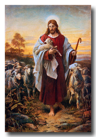 Jesus as the good shepherd by Bernhard Plockhorst