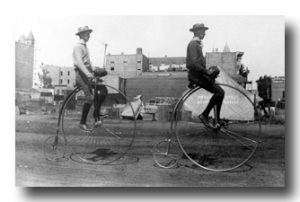 Penny-farthing riders in Los Angeles - 1886